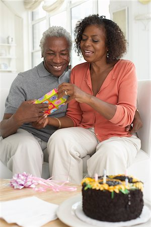 Couple With Birthday Cake Stock Photo - Premium Royalty-Free, Code: 600-01614059