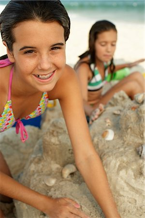 Portrait of Girl on Beach Stock Photo - Premium Royalty-Free, Code: 600-01614221