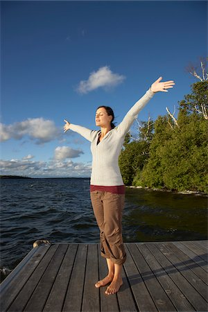 Woman on Dock Stock Photo - Premium Royalty-Free, Code: 600-01614829