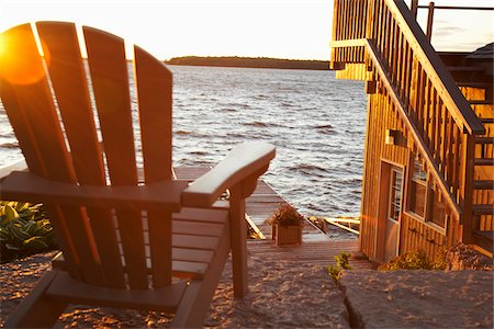 Chair and Dock at Dusk Stock Photo - Premium Royalty-Free, Code: 600-01614835