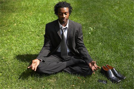 Businessman Meditating Stock Photo - Premium Royalty-Free, Code: 600-01615307