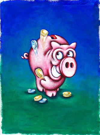 Smiling Piggy Bank Throwing Coins in the Air Stock Photo - Premium Royalty-Free, Code: 600-01670669