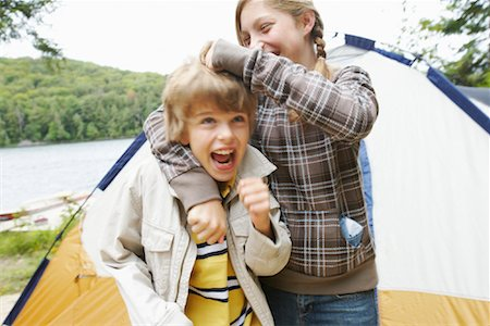 Brother and Sister Camping Stock Photo - Premium Royalty-Free, Code: 600-01694172