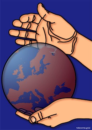 Illustration of Person Holding Globe Stock Photo - Premium Royalty-Free, Code: 600-01694635