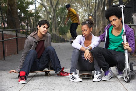 sports scooters - Teenagers Hanging Out Stock Photo - Premium Royalty-Free, Code: 600-01764049