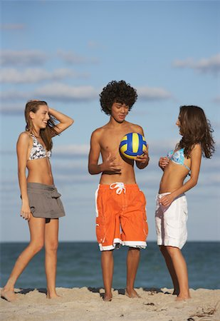 Friends on Beach with Volleyball Stock Photo - Premium Royalty-Free, Code: 600-01838206