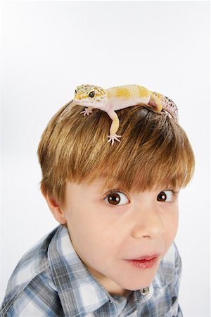Boy with Lizard on Head Stock Photo - Premium Royalty-Free, Code: 600-02055746