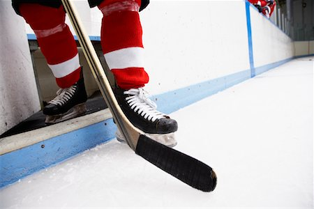 Close-up of Hockey Player's Skates and Stick Stock Photo - Premium Royalty-Free, Code: 600-02056084