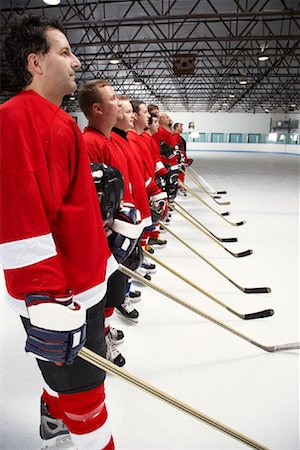 Hockey Team During National Anthem Stock Photo - Premium Royalty-Free, Code: 600-02056096