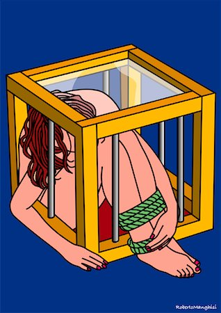 restrained - Illustration of Woman in Cage Stock Photo - Premium Royalty-Free, Code: 600-02071132