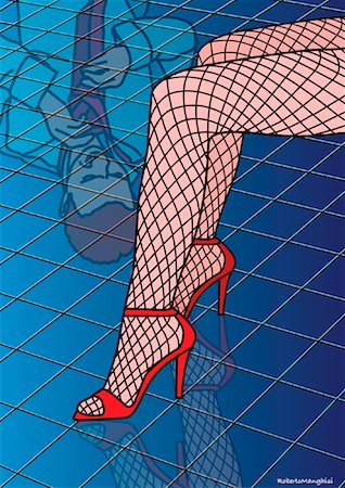 Illustration of Woman's Legs, Reflection of Man in Tiles Stock Photo - Premium Royalty-Free, Code: 600-02071140