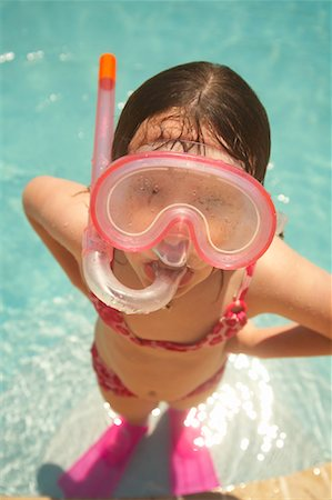 Girl Wearing Snorkel and Goggles Stock Photo - Premium Royalty-Free, Code: 600-02082091