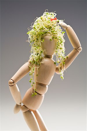 erotic female figures - Wooden Mannequin Wearing Alfalfa Sprouts on Head Stock Photo - Premium Royalty-Free, Code: 600-02199835