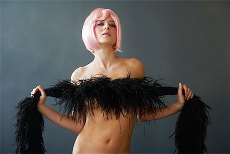female nude hip - Portrait of Woman With Feather Boa Stock Photo - Premium Royalty-Free, Code: 600-02200214
