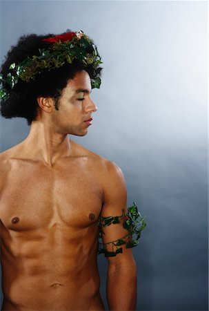 Portrait of Man With Wreath on Head and Arm Stock Photo - Premium Royalty-Free, Code: 600-02200300