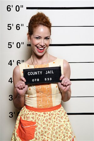 Mug Shot of Woman Stock Photo - Premium Royalty-Free, Code: 600-02201458