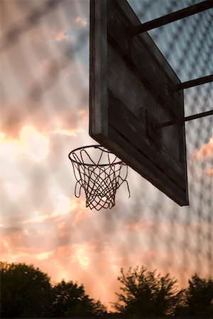 Basketball Net at Sunset, New York State, USA Stock Photo - Premium Royalty-Free, Code: 600-02264447