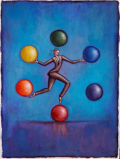 Illustration of Businessman Balancing and Juggling Balls, while Blindfolded Stock Photo - Premium Royalty-Free, Artist: James Wardell, Image code: 600-02265069