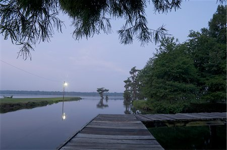 Dock by Lake, Lake Martin, Lafayette, Louisiana, USA Stock Photo - Premium Royalty-Free, Code: 600-02377286
