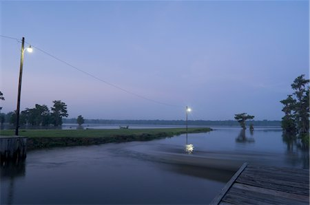 Dock by Lake, Lake Martin, Lafayette, Louisiana, USA Stock Photo - Premium Royalty-Free, Code: 600-02377287