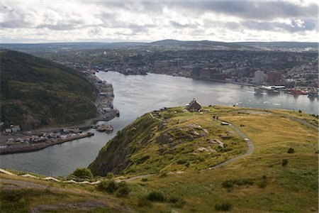 road landscape - St John's Harbour from Signal Hill, Newfoundland, Canada Stock Photo - Premium Royalty-Free, Code: 600-02377437