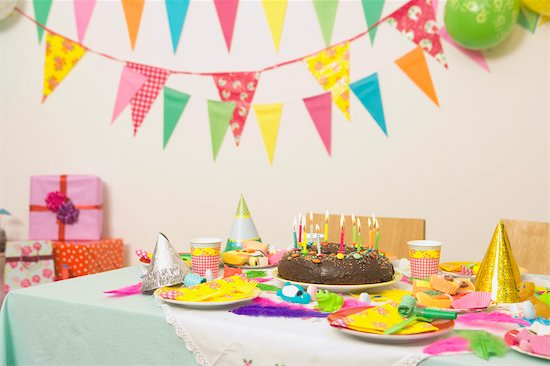 birthday party food table. Table Set for Birthday Party