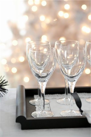 sparkling - Tray of Wine Glasses at Christmas Stock Photo - Premium Royalty-Free, Code: 600-02637880
