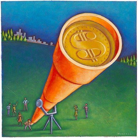 Illustration of People Looking at Money Through Telescope Stock Photo - Premium Royalty-Free, Code: 600-02633756