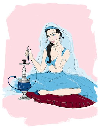 erotic female figures - Illustration of Woman with Hookah Stock Photo - Premium Royalty-Free, Code: 600-02633838