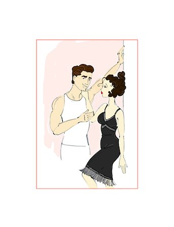 erotic female figures - Illustration of Woman Touching Man's Cheek Stock Photo - Premium Royalty-Free, Code: 600-02633841