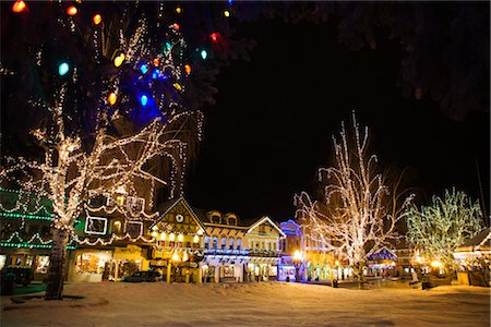 small town snow - Christmas Lights in the Bavarian-themed Town of Leavenworth, Washington, USA Stock Photo - Premium Royalty-Free, Code: 600-02693471