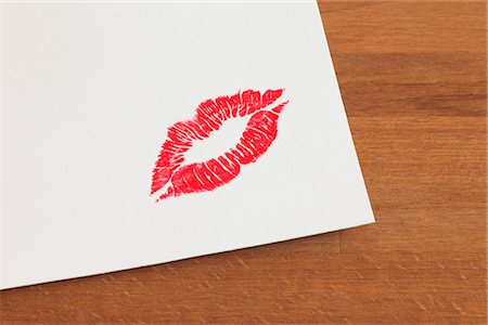 stamp (imprinted mark) - Lipstick Mark on a Piece of Paper Stock Photo - Premium Royalty-Free, Code: 600-02700969