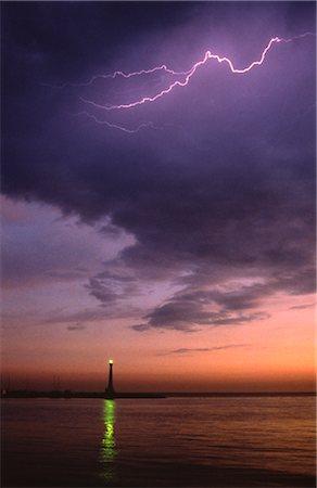Lightning and Lighthouse Stock Photo - Premium Royalty-Free, Code: 600-02886465
