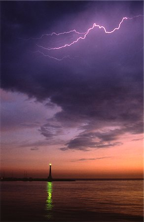 Lightning and Lighthouse Stock Photo - Premium Royalty-Free, Code: 600-02886465
