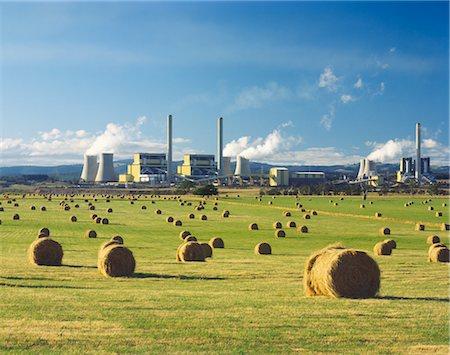 Brown Coal Power Station Beside Hay Field, La Trobe Valley, Australia Stock Photo - Premium Royalty-Free, Code: 600-02886528