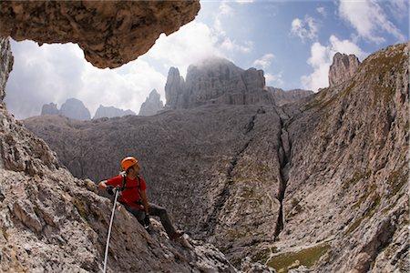 Man Climbing Brigata Tridentina Via Ferrata, Sella Massif, Dolomites, Italy Stock Photo - Premium Royalty-Free, Code: 600-03014916
