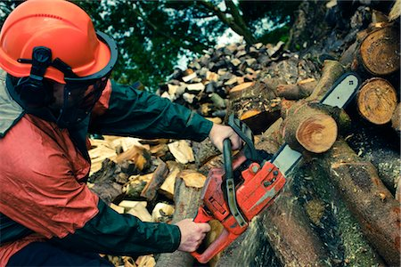 forestry - Man Cutting Tree with Chainsaw, Devon, England Stock Photo - Premium Royalty-Free, Code: 600-03059106