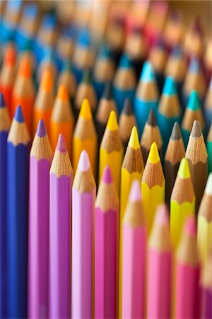 set - Coloured Pencils Stock Photo - Premium Royalty-Free, Code: 600-03161696