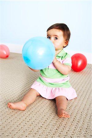 Baby Girl with Balloon Stock Photo - Premium Royalty-Free, Code: 600-03265817