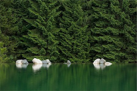 Reflection of Rocks in Water, Forest in Background, Near Fuschl, Salzburg, Austria Stock Photo - Premium Royalty-Free, Code: 600-03298871