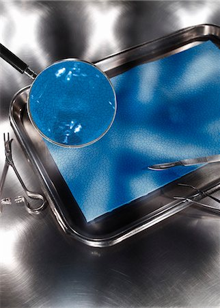 Magnifying Glass Over Dissection Tray Stock Photo - Premium Royalty-Free, Code: 600-03333174