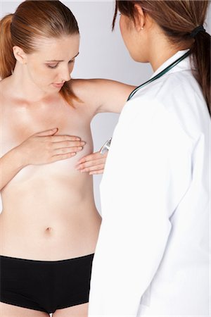 Woman Giving Self Breast Examination while Doctor Observes Stock Photo - Premium Royalty-Free, Code: 600-03405633