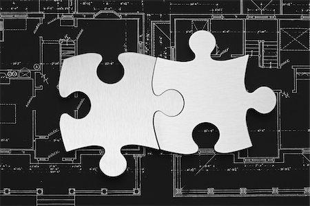 still life - Puzzle on Floorplans Stock Photo - Premium Royalty-Free, Code: 600-03446221