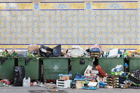 Garbage Outside a Market in Valencia, Spain Stock Photo - Premium Royalty-Free, Code: 600-03502814