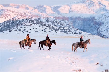 Cowboys and Cowgirl on Quarter Horses in Winter, Bighorn Mountains, Wyoming, USA Stock Photo - Premium Royalty-Free, Code: 600-03503112