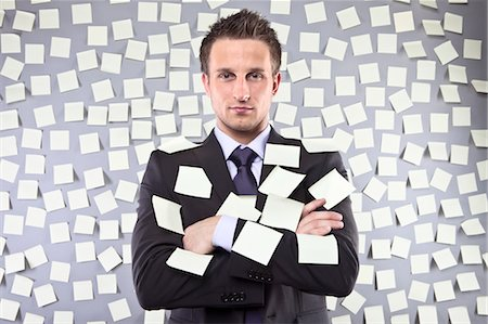 person overwhelmed stresss - Businessman Covered in Self Adhesive Notes Stock Photo - Premium Royalty-Free, Code: 600-03520296