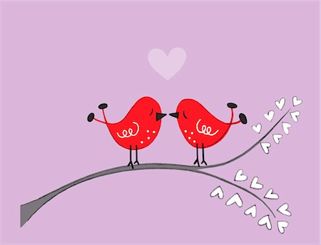 Illustration of Birds Kissing Stock Photo - Premium Royalty-Free, Code: 600-03554429
