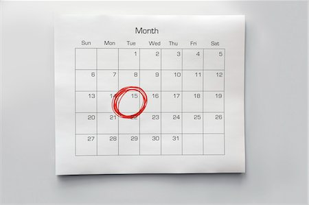 remembered - Calendar with 15th Circled Stock Photo - Premium Royalty-Free, Code: 600-03615716