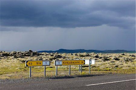 Road Signs to Vik and Kirkjubaejarklaustur on Ring Road, Iceland Stock Photo - Premium Royalty-Free, Code: 600-03659323