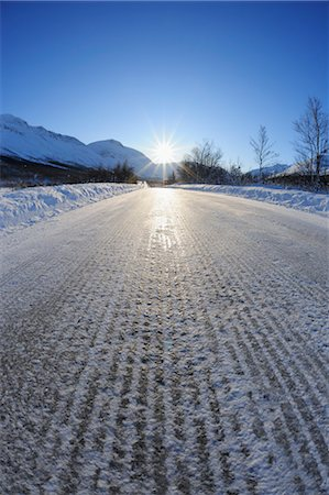 Icy Road, Breivikeidet, Troms, Norway Stock Photo - Premium Royalty-Free, Code: 600-03665463